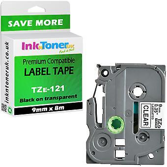 Kompatibel Brother Tze-121 sort på Clear 9mm X 8m P-touch tape
