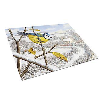 Winter Eurasian Blue Tit Glass Cutting Board Large