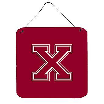 الحرف X مونوغرام الأولية-المارون والأبيض الجدار أو الباب معلقة يطبع