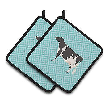 Carolines Treasures  BB7996PTHD Holstein Cow Blue Check Pair of Pot Holders