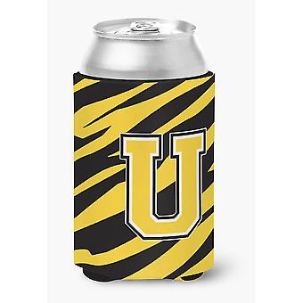 Lettera U monogramma iniziale - Tiger Stripe - Black Gold possono abbraccio isolante delle bevande