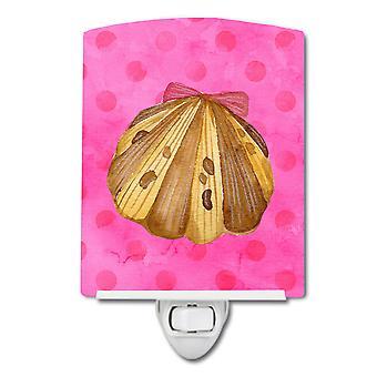 Carolines schatten BB8174CNL Sea Shell roze Polkadot keramische nachtlampje