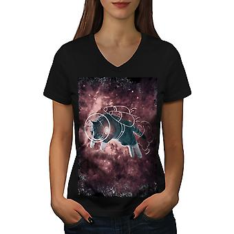 Cat Astronaut Funny Women BlackV-Neck T-shirt | Wellcoda