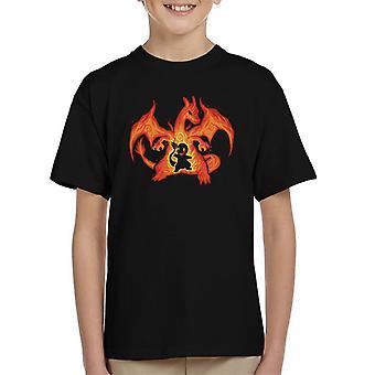Feuerdrache innerhalb Glurak Glumanda Pokemon Kinder T-Shirt