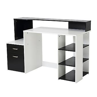 HOMCOM Wooden Computer Desk PC Table Modern Home Office Writing Workstation Furniture Printer Shelf Rack w/ Storage Drawer & Shelves (Black and white)