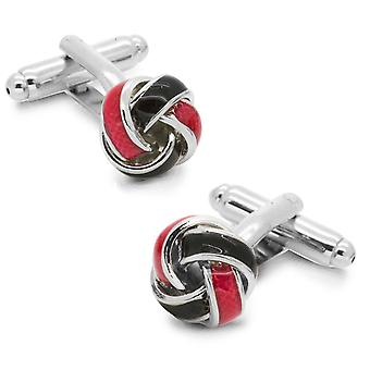 Red & Black Knot Twisted Cufflinks Silver Tone Cuff Links For All Occasions
