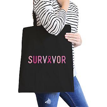 Survivor Black Graphic Canvas Bag For Breast Cancer Awareness Gift