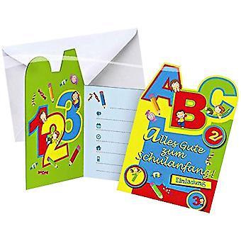 Retour aux invitations de l'école de 6 pièces avec une couverture carte formation fête d'enfants