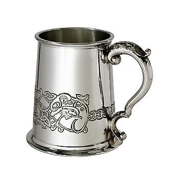Keltische draak reliëf Pewter Tankard - 1 pint