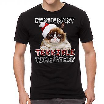 Verschrikkelijke mannen Grumpy Cat zwart grappig T-shirt