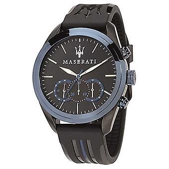 Maserati Mens Traguardo Chronograph | Blue Dial | Black Silicone R8871612006 Watch