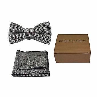 Luxe Herringbone étain gris noeud papillon & mouchoir de poche Set - Tweed, regard de pays Plaid   Processeur en boîte