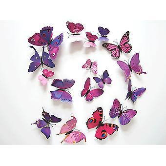 TRIXES Pack 12 palo de rosa y morado mariposas 3D en pared decoración magnética mariposa pegatinas