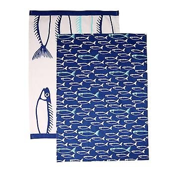 Dexam Set of 2 Tea Towels, Fish Marine