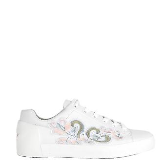 Ash NAKBIS Trainers White Leather With Pink Embroidery Motif