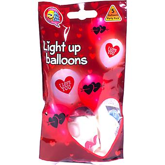 LED Balloons Latex I Love You - 5-pack