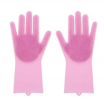 Durable silicone Wash Gloves-pink