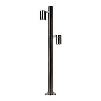 Lucide Arne-LED Modern Round Steel Satin Chrome Bollard Light