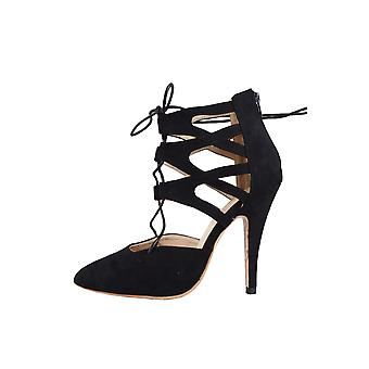 LMS Black Suede Pointed Toe Lace Up High Heel