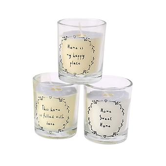 Set of 3 Assorted Mini Scented Candles in Glass Jar