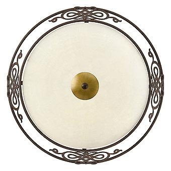 Eglo - Mestre 2 lumière plafond traditionnel Flush antique brun clair et or finir EG86712 (moyen)