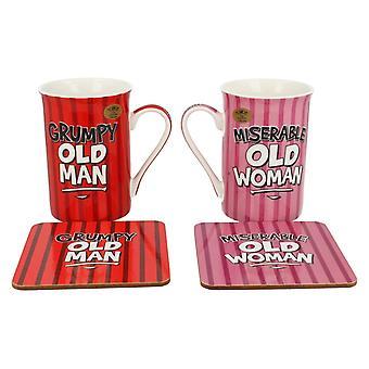 Lesser & Pavey Grumpy Old Man & Miserable Old Woman Mug Set LP92726