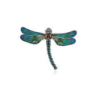 Art Nouveau Style Round Marcasite & Enamel Dragonfly Brooch in Sterling Silver 15742