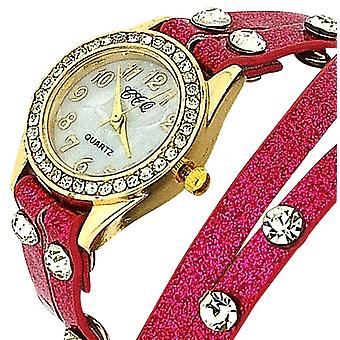 TOC Ladies Crystal Studded Extra Long Hot Pink Glitter Strap Dress Watch SW1096