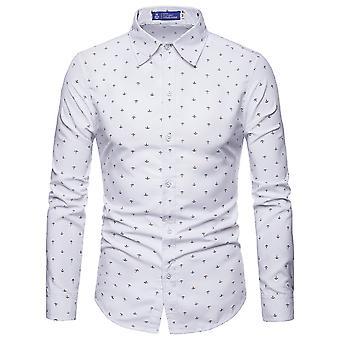Allthemen Miesten pitkähihainen paita painettu ankkuri puuvilla sekoitus paita 4 väriä