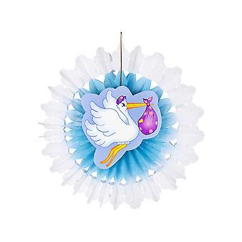 Azure Stork mit Baby-Paper-Fan 50Cm