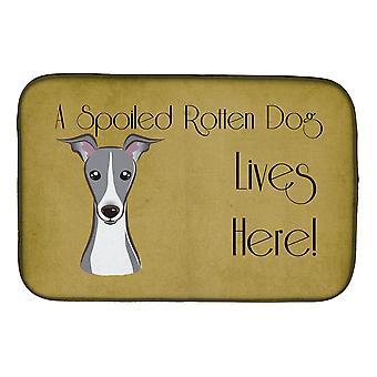 Italian Greyhound pilaantunut koira asuu täällä lautasen kuivaus matto