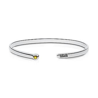 University Of Maryland Engraved Sterling Silver Yellow Sapphire Cuff Bracelet