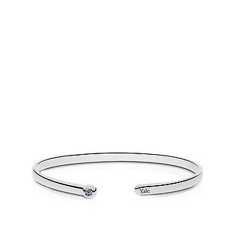 Yale University graverad Sterling Silver Vit Sapphire Cuff Armband