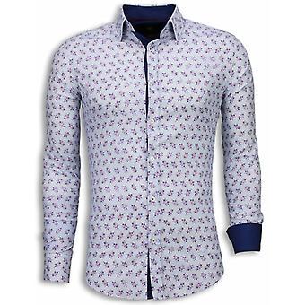 E Shirts - Slim Fit - Daisy Pattern - White