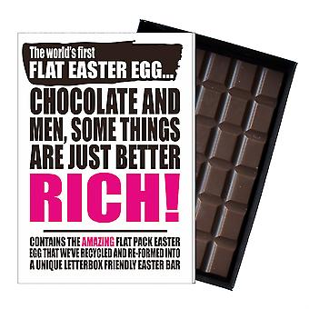 Funny Flat Easter Egg Chocolate Bar Greeting Card Gift Women Girlfriend UK EIYF135