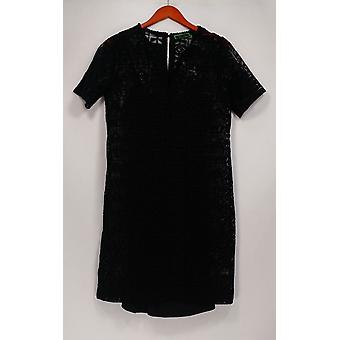 C. Wonder Dress Lace Split Neck Short Sleeve with Lining Black A275165