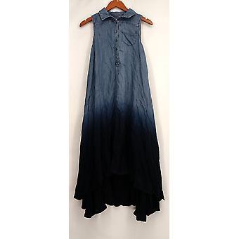 OSO Casuals ermeløs Hi Lo woven dukkert fargestoff skjorte kjole blå kvinner A432923
