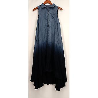 OSO Casuals Sleeveless Hi Lo Woven Dip Dye Shirt Dress Blue Womens A432923