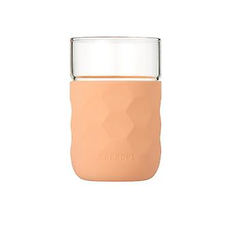 Honeycomb Anti-skid Glass with Silicone Sleeve 250ml in Crimson