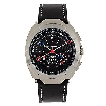 Morphic M79 Series Chronograph relógio de couro-Band-prata/preto