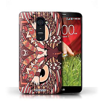 STUFF4 Case/Cover for LG G2/Owl-Red/Aztec Animal