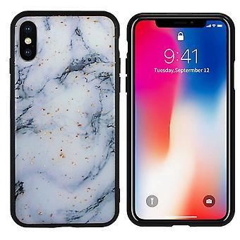 Bagside Cover marmor glitter til Apple iPhone X/XS blå