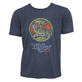 Tiger Beer Distressed Logo Denim Blue Tee Shirt