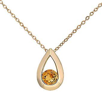Citerna Necklace with Women's Pendant - Yellow Gold - Citrina - Orange/Yellow