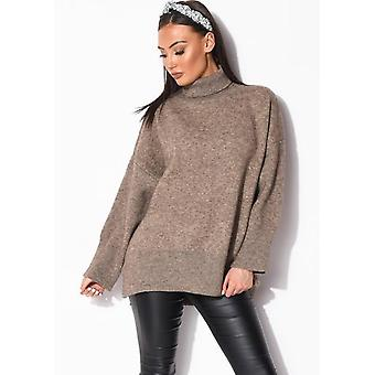 Turtle Neck Oversized Chunky Knit Long Sleeve Jumper Brown