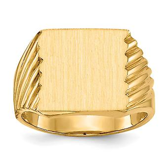 14k Yellow Gold Polished Engravable Mens Signet Ring Size 9 Jewelry Gifts for Men - 10.7 Grams