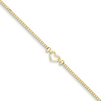 14k Žlté zlato leštené Fancy Love Heart Anklet Homár Pazúry Šperky darčeky pre ženy - Dĺžka: 9 až 10