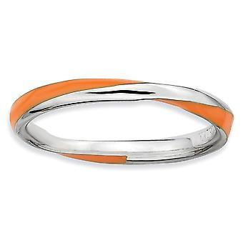 925 sterling sølv polert rhodium belagt vridd oransje enameled 2,5 x 2,25 mm stables ring smykker gaver til kvinner