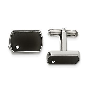 Stainless Steel Polished Black Enamel and CZ Cubic Zirconia Simulated Diamond Cuff Links Jewelry Gifts for Men
