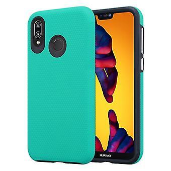 Cadorabo tapauksessa Huawei P20 LITE tapauksessa kansi - Outdoor puhelin tapauksessa ylimääräinen Grip Anti slip pinta kolmio suunnittelu silikonista ja muovista - Suojakotelo Hybrid Hardcase Takaisin tapauksessa